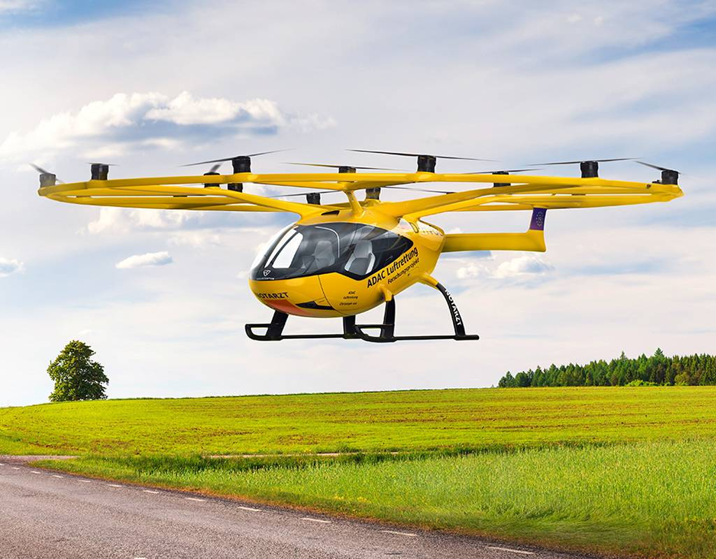 Volocopter's VoloCity eVTOL was used for the study with ADAC Luftrettung. Volocopter Image
