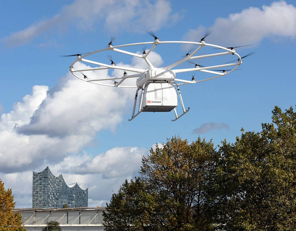 The VoloDrone is 9.15 meters in diameter, 2.15 meters tall, and has a 600-kilogram maximum take-off weight (MTOW). Volocopter Photo