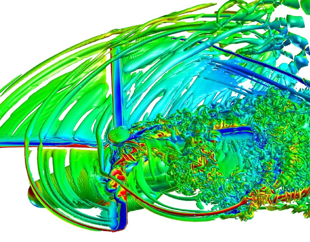 CREATET-AV Helios computer simulated flow field of air through the rotor blades of a UH-60A Black Hawk helicopter in forward flight. U.S. Army Image