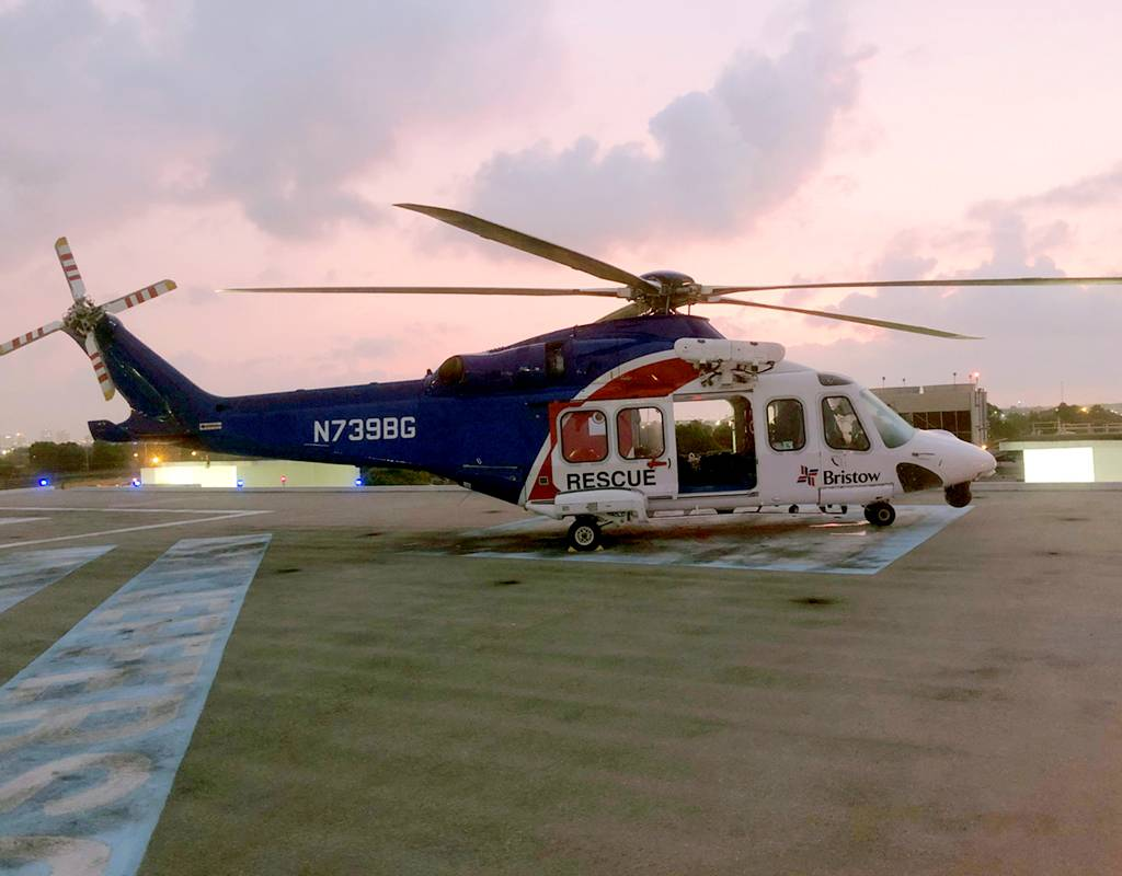 A Bristow AW139 that is being used to transport acutely-ill offshore workers in the oil-and-gas industry with suspected cases of the novel coronavirus (COVID-19). Bristow Photo