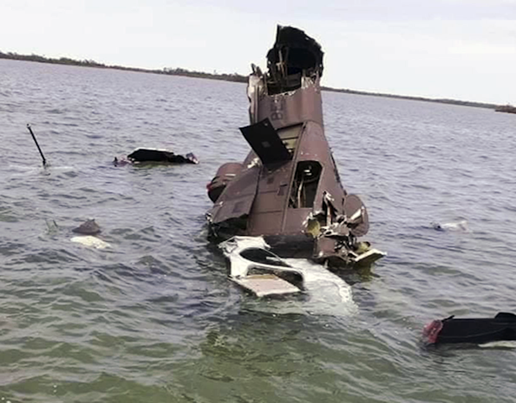 The accident aircraft was resting almost vertically in water that was approximately five feet deep. The tail boom fractured approximately 42 inches from the tail boom attachment point, according to a report published by Bell. News 5 Belize File Photo