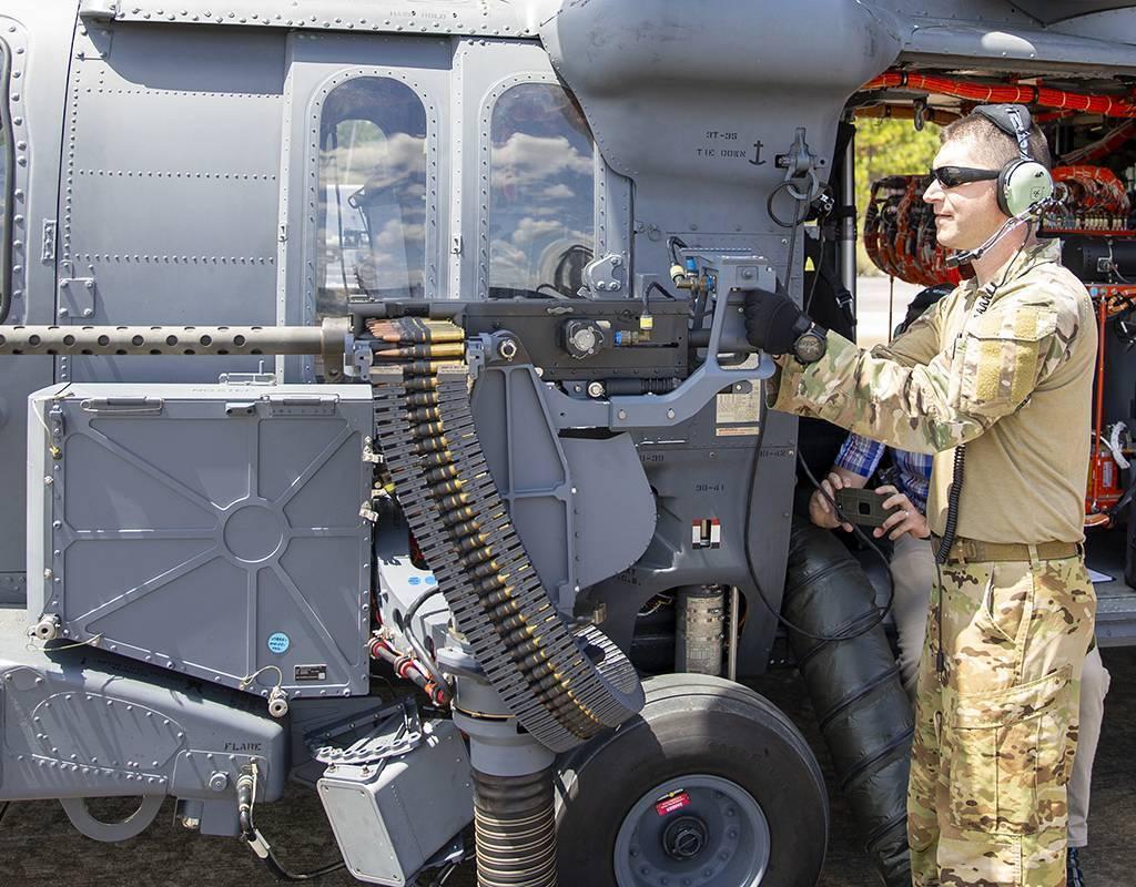 Master Sgt Timothy Philpott, a 413th Flight Test Squadron special missions aviator, fires the GAU-18 .50 caliber machine gun on the range near Eglin Air Force Base, Florida, Aug. 21, 2020. U.S. Air Force/Tech. Sgt. John Raven Photo