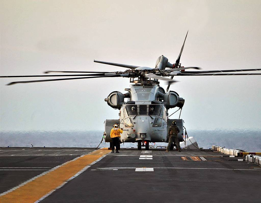 The CH-53K King Stallion prepares to take off from the deck of the USS Wasp (LHD) at sea during its first sea trials. U.S. Navy Photo