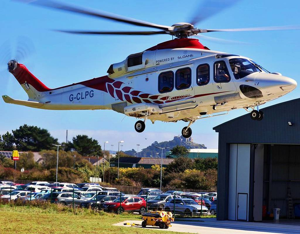 With 15 ergonomically designed seats and large cabin windows, the AW139 treats passengers to unobstructed views of the route's breathtaking coastal scenery. Penzance Helicopters Photo