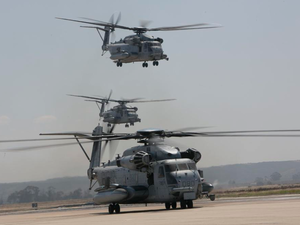 U.S. Marine Corps CH-53E Super Stallions with Marine Heavy Helicopter Squadrons (HMH) 361, 465 and 466, Marine Aircraft Group (MAG) 16, 3rd Marine Aircraft Wing (MAW), take off from the flight line during a mass flight exercise at Marine Corps Air Station Miramar, California, June 6, 2019. LCpl Julian Elliott-Drouin Photo