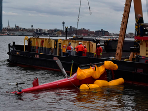 The OIG's audit stems from a March 2018 accident in which five tightly harnessed passengers drowned after their helicopter made an emergency landing to New York City's East River. NTSB Photo