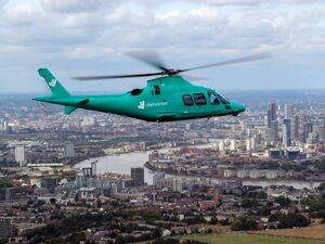 "A Leonardo AW109 helicopter has been fully wrapped in Deliveroo's teal-colored branding and transformed into ""Roocopter One."" Charter-A Ltd Photo"