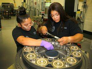 Over eight weeks, Vanessa Maldonado worked alongside mentor Mia Bridgeforth and other technical experts to earn pre-apprenticeship hours toward Aircraft Manufacturing certification as part of the Teamsters/Sikorsky Career Pathways program. Lockheed Martin has committed to creating 8,000 new apprenticeship and workforce positions through 2023. Lockheed Martin Photo