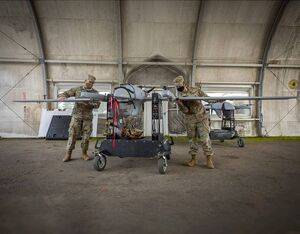 Soldiers from the 3rd Armored Brigade Combat Team, 1st Armored Division, Fort Bliss, Texas conduct pre-flight inspections on the L3 Harris FVR-90 unmanned aircraft system on Feb. 25. U.S. Army Photo by Mr. Luke J. Allen