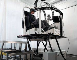 VRM Switzerland's Virtual Reality Training Device incorporates a motion platform allowing pilots to feel fine changes in attitude and touchdown on the ground. VRM Switzerland Photo