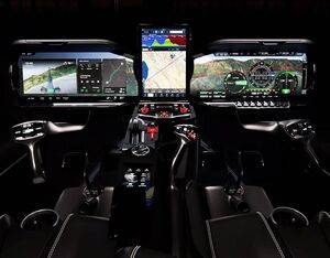 Hill Helicopters' digital cockpit concept for the experimental HX50 and commercial HC50 five-seat luxury helicopters. Hill Helicopters Photo
