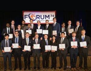 Dan Newman, the VFF selection committee chair, stands in the back right at the 74th Annual Grand Awards Banquet. 2021 recipients of VFS scholarships will be recognized at the VFS Grand Awards Ceremony which will debut on Wednesday, May 5, 2021. VFS Photo