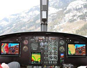 "The Alpine Aerotech kit consolidates inputs into highly accurate and reliable Altitude/Heading Reference Systems (ADAHRS) displayed on large 10.6"" touchscreens. Alpine Aerotech Photo"