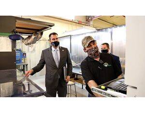 Oklahoma Governor Kevin Stitt toured the Mint Turbines plant in Stroud, Oklahoma after joining company executives to announce new provider agreement between Mint and General Electric. Mint Turbines Photo