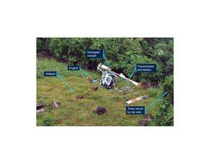 While maneuvering close to the ground in a confined and overgrown landing site on Moa Island in the Torres Strait, the pilot of a LongRanger helicopter experienced difficulty locating the helipad before the helicopter's tail rotor contacted trees, resulting in the helicopter spinning rapidly and colliding with terrain. ATSB Photo