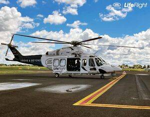 The Land Rover LifeFlight Special Mission helicopter is usually based in Brisbane but was tasked to Moree by Fire and Rescue NSW to aid emergency services in their response to the unfolding flood crisis. LifeFlight Photo