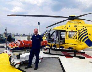 Alistair Rennie, consultant in emergency medicine and major trauma at the MRI and RMCH and group clinical lead for emergency planning, on the helipad. Manchester University NHS Foundation Trust Photo