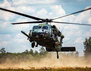 An HH-60G Pave Hawk assigned to the 41st Rescue Squadron prepares to land June 15, 2021, at Moody Air Force Base, Georgia. U.S. Air Force/Senior Airman Hayden Legg Photo
