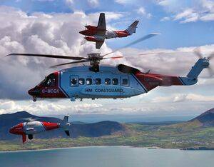 HM Coastguard's drone, helicopter and airplane assets undertaking their first formation flight in Wales Ian Black, HM Coastguard, Bristow Helicopters, 2Excel Aviation Photo