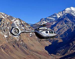 The five-bladed H145 during a September flight in the Andes mountain range. The aircraft landed on Aconcagua, the highest mountain the Southern Hemisphere. Anthony Pecchi Photo