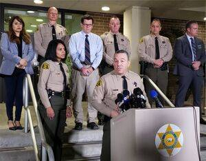 L.A. County Sheriff Alex Villanueva discusses the helicopter crash that killed Kobe Bryant at a Sunday evening press conference. LASD Photo