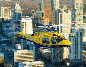 One of STAR Flight's three AW169s on duty and ready to serve over downtown Austin, Texas. Dan Megna Photo