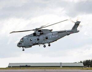Merlin helicopters from Culdrose will act as flying ambulances and transporters, flying supplies and personnel during the pandemic. Royal Navy Photo