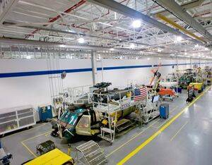 The Black Hawk production line at Sikorsky's Florida Assembly and Flight Operations center. For now, all Army rotorcraft prime contractors are up and running in whole or in part. Lockheed Martin Photo