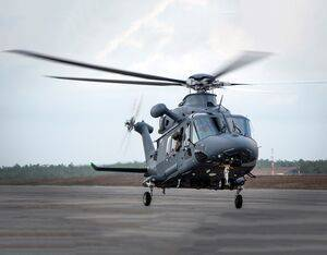 The Air Force's newest helicopter, the MH-139A Grey Wolf, lifts off from the flightline for its first combined test flight at Eglin Air Force Base, Florida, Feb. 11, 2020. The Grey Wolf is set to replace the Air Force's UH-1N Huey fleet. U.S. Air Force/Samuel King Jr. Photo