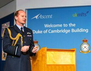 Air Chief Marshal Wigston, Chief of the Air Staff, addresses guests and staff at the official naming of The Duke of Cambridge building as part of No. 1 Training School at RAF Shawbury in Shropshire. RAF Photo