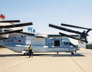 V-22 Ospreys bound for Japan Ground Self-Defense Force (JGSDF) units arrive in Japan at Marine Corps Air Station, Iwakuni, May 8, 2020. The V-22 off-load marked the first time JGSDF V-22s arrived on Japanese soil. U.S. Marine Corps/Cpl. Lauren Brune Photo