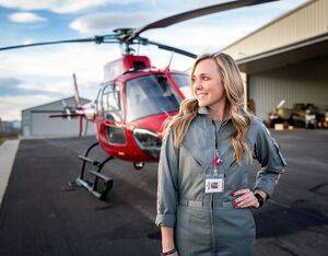 Samantha Poirier went from flying air tours to becoming a HEMS pilot with UCHealth LifeLine, where she is the organization's first and only female pilot. Photo courtesy of e.Moon Photography