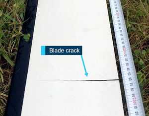 Analysis identified that the fatigue crack initiated at the trailing edge bond line and propagated through both the upper and lower blade skins until terminating at the leading edge D-spar. ATSB Photo