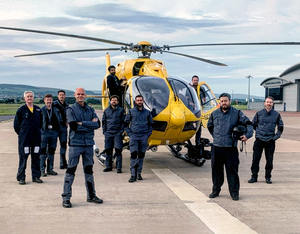 Gama Aviation has taken over all SAS's HEMS missions. Captain Andy Lister, head of  flight operations, Scotland (fourth from the left) is pictured with some of his team.