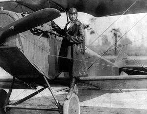 Bessie Coleman: pioneer African-American aviator with her Curtiss Jenny JN-4.